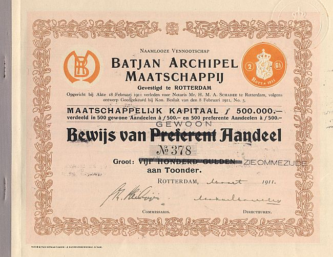 Batjan Archipel Maatschappij historic stocks - old certificates
