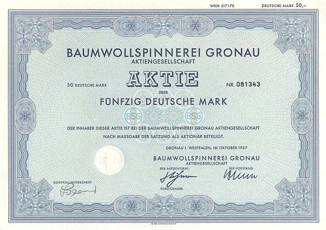 Baumwollspinnerei Gronau historic stocks - old certificates