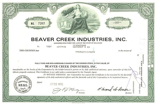 Beaver Creek Industries, Inc. historic stocks - old certificates