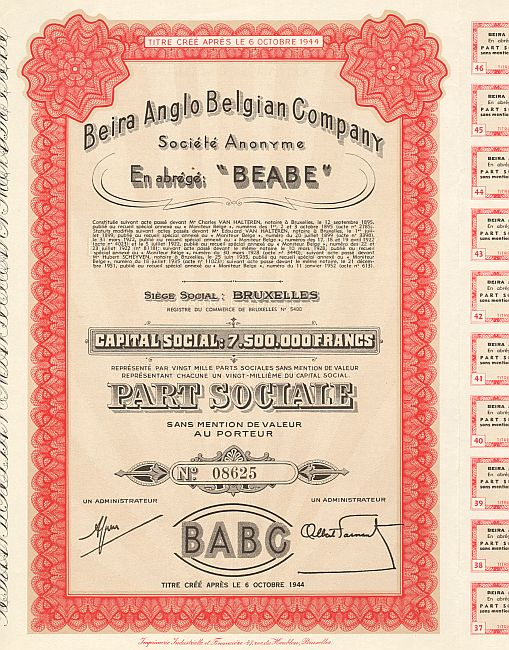 Beira Angola Belgian Company (BEABE) historic stocks - old certificates