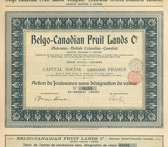 Belgo-Canadian Fruit Lands Cy. historic stocks - old certificates