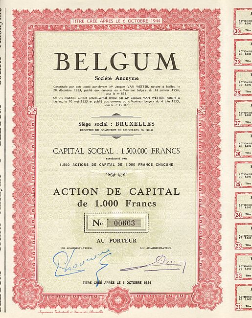 Belgum Societe Anonyme historic stocks - old certificates