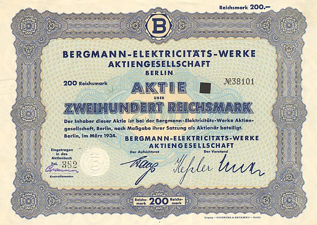 Bergmann Elektricitäts-Werke Aktiengesellschaft, Berlin (1934 200 RM) -  historic stocks - old certificates Others