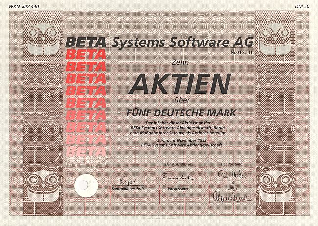 BETA Systems Software A.G. historic stocks - old certificates