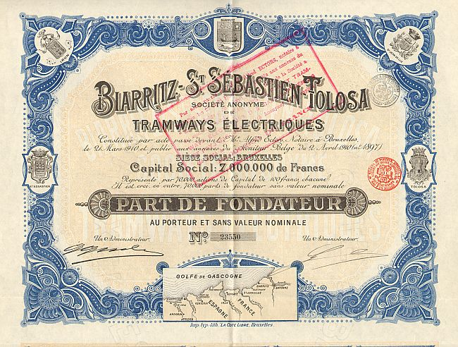 Biarritz-St. Sebastian-Tolosa Tramways Electriques -  historic stocks - old certificates Railroads