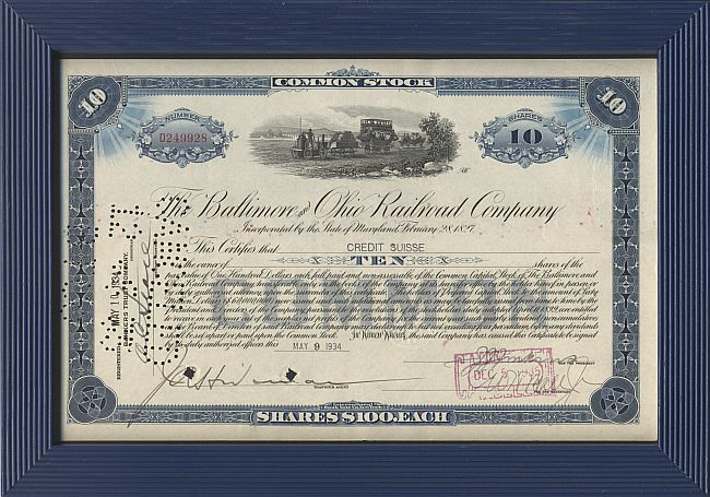 Baltimore and Ohio Railroad Company (mit Holzrahmen) historic stocks - old certificates