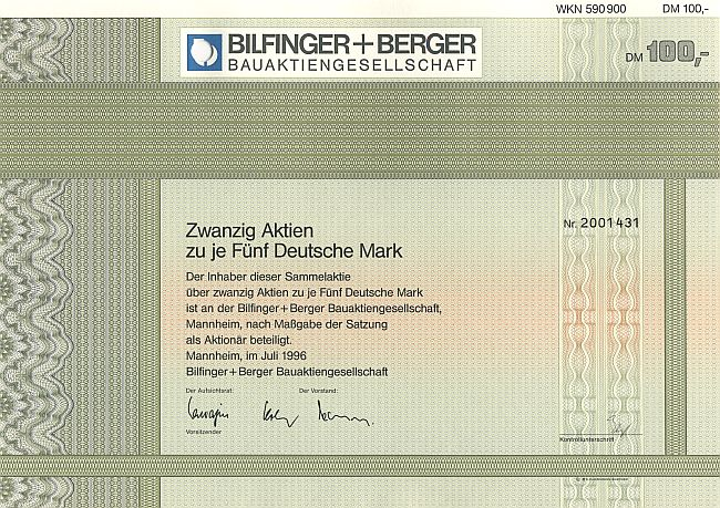 Bilfinger+Berger Bauaktiengesellschaft historic stocks - old certificates