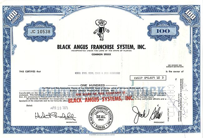 Black Angus Franchise Systems historic stocks - old certificates