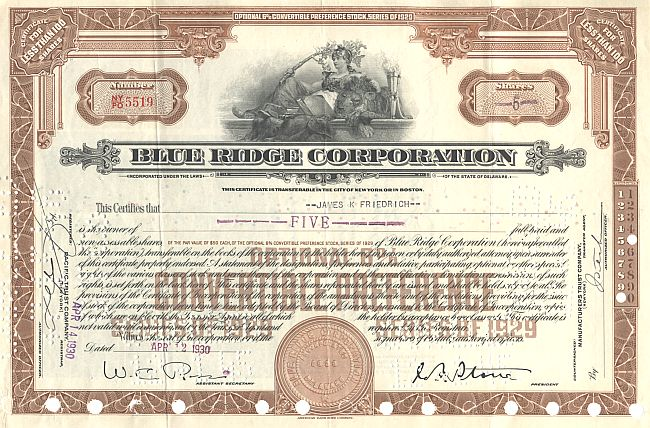 Blue Ridge Corporation historic stocks - old certificates