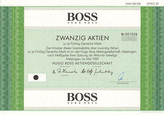 BOSS Hugo Boss historic stocks - old certificates