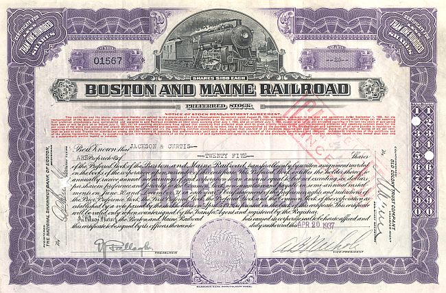 Boston and Maine Railroad historic stocks - old certificates