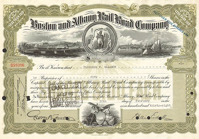 Boston and Albany Rail Road Company historic stocks - old certificates