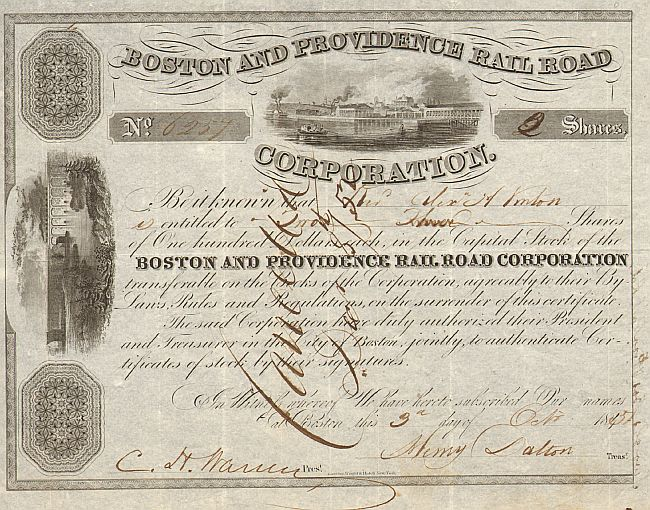 Boston and Providence Railroad Corporation historische Wertpapiere - alte Aktien