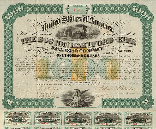 Boston Hartford and Erie Rail Road Company historic stocks - old certificates