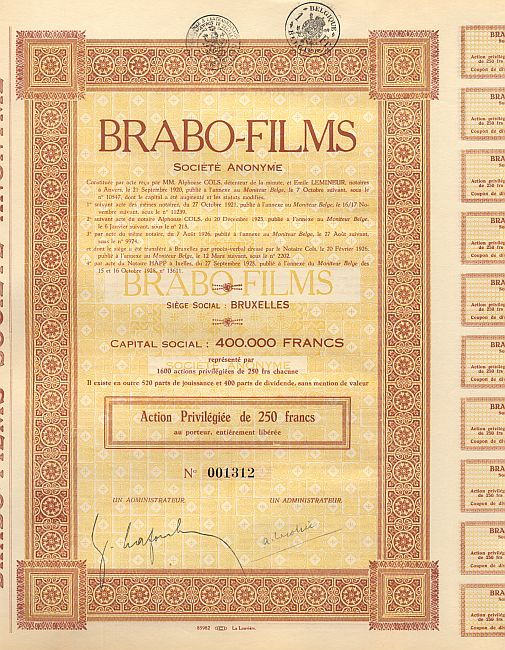 Brabo-Films historic stocks - old certificates
