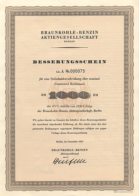 Braunkohle - Benzin Aktiengesellschaft historic stocks - old certificates