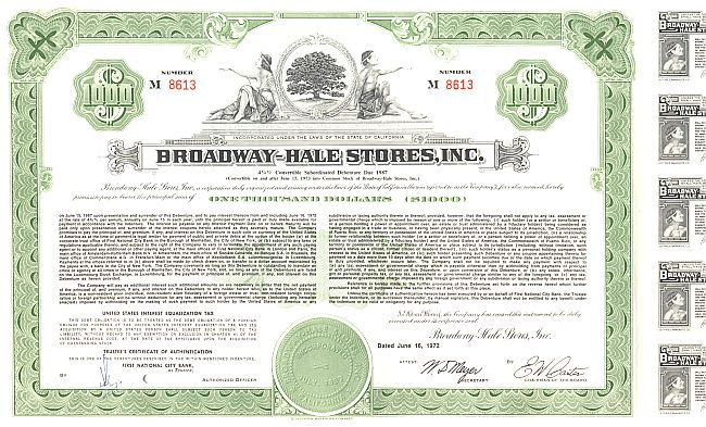 Broadway Hale Stores historic stocks - old certificates