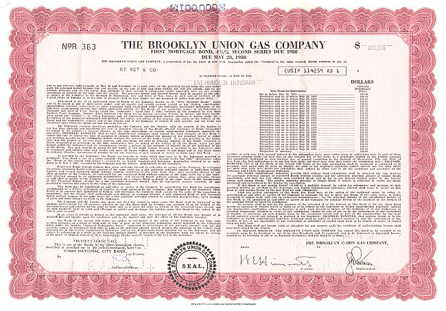 Brooklyn Union Gas Company historic stocks - old certificates