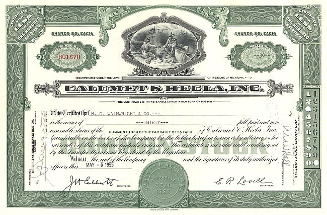 Calumet & Hecla, Inc. historic stocks - old certificates