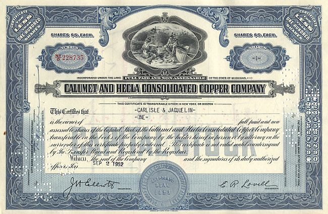 Calumet and Hecla Consolidated Copper Company historic stocks - old certificates
