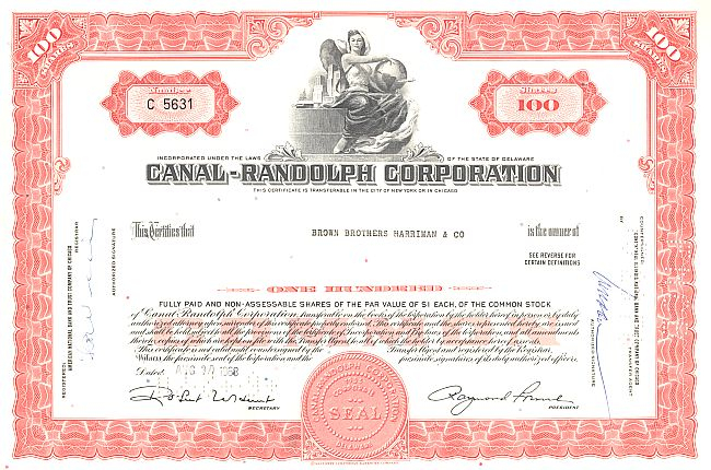 Canal-Randolph Corporation (Frau) historic stocks - old certificates