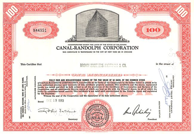 Canal-Randolph Corporation (Gebäude) historic stocks - old certificates
