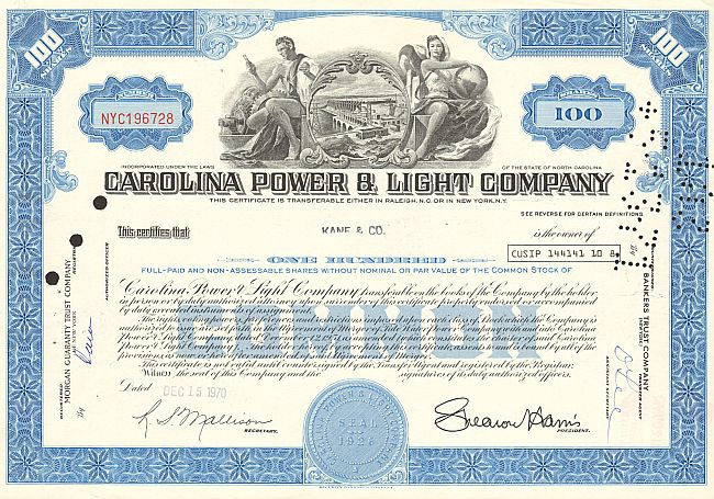 Carolina Power & Light Company historic stocks - old certificates