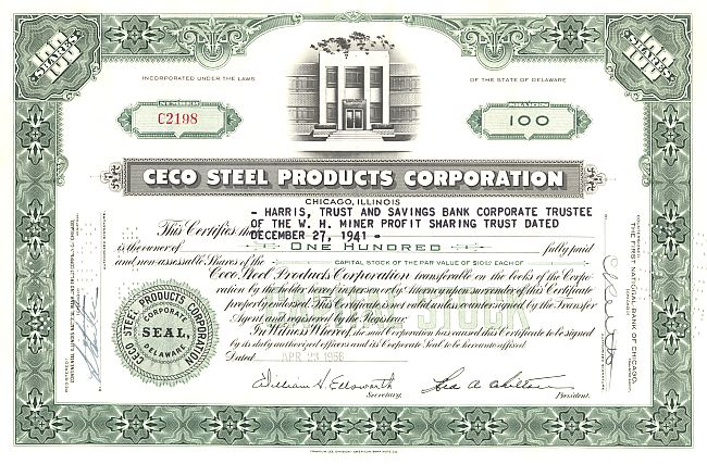 Ceco Steel Products Corporation historische Wertpapiere - alte Aktien