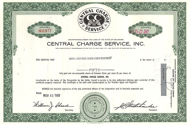 Central Charge Service, Inc. historic stocks - old certificates
