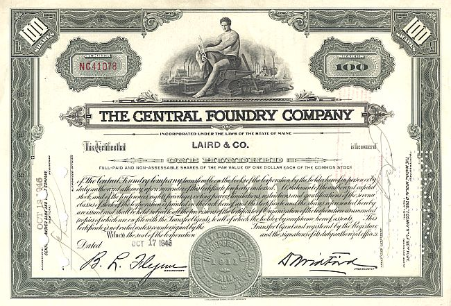 Central  Foundry Company historic stocks - old certificates