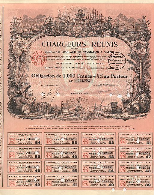 Chargeurs Reunis historic stocks - old certificates