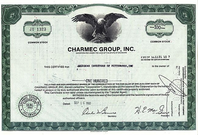 Charmec Group Inc. historic stocks - old certificates