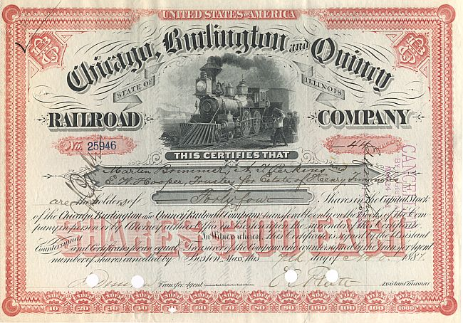Chicago, Burlington and Quincy Railroad Company historische Wertpapiere - alte Aktien
