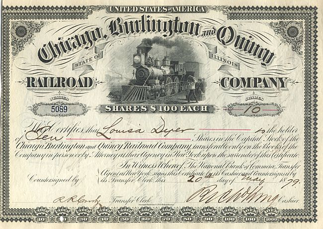 Chicago, Burlington and Quincy Railroad Company historic stocks - old certificates