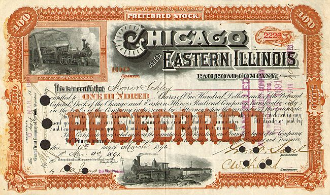 Chicago and Eastern Illinois Railroad Company historische Wertpapiere - alte Aktien