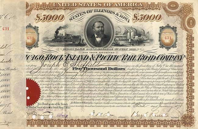 Chicago, Rock Island and Pacific Railroad historic stocks - old certificates