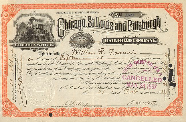 Chicago, St. Louis and Pittsburgh Rail Road Company historische Wertpapiere - alte Aktien
