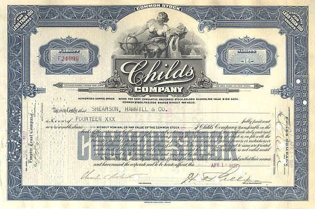 Childs Company historic stocks - old certificates