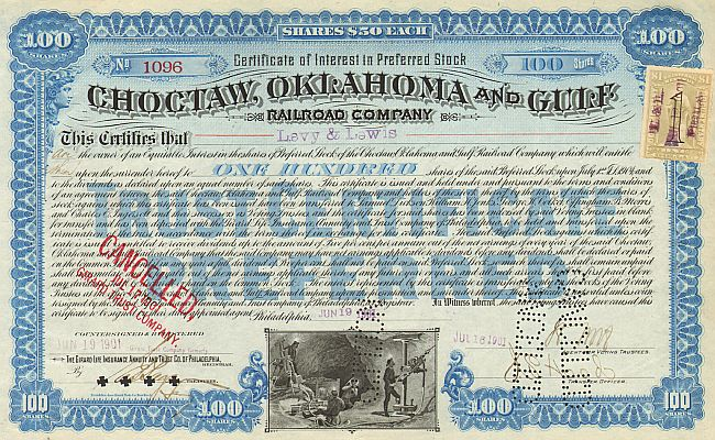 Choctaw, Oklahoma and Gulf Railroad Company historic stocks - old certificates