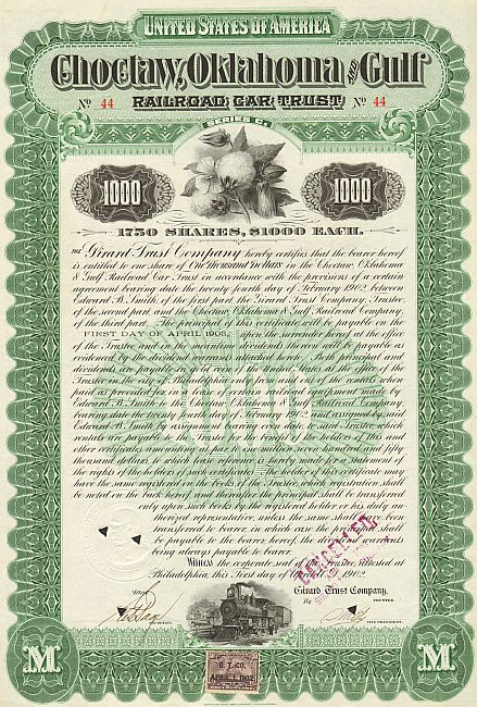 Choctaw, Oklahoma and Gulf Railroad Car Trust historic stocks - old certificates