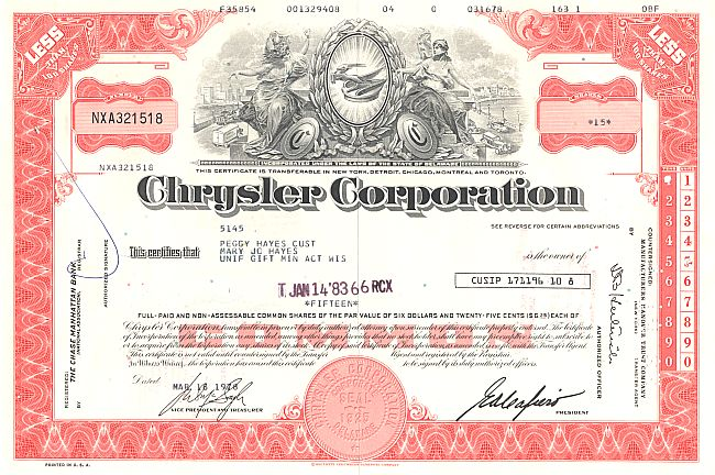 Chrysler Corporation historische Wertpapiere - alte Aktien