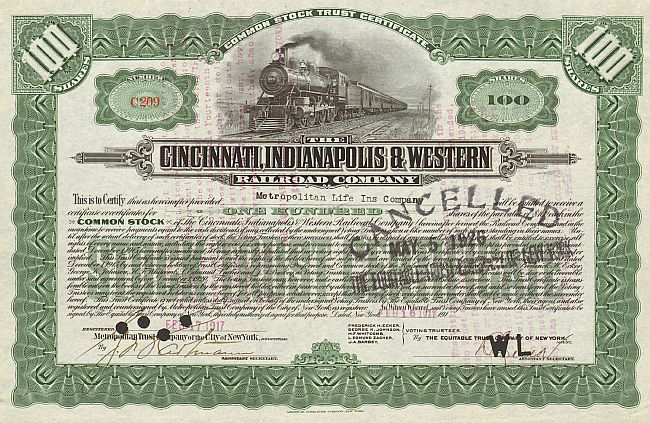 Cincinnati, Indianapolis and Western Railroad Company historic stocks - old certificates