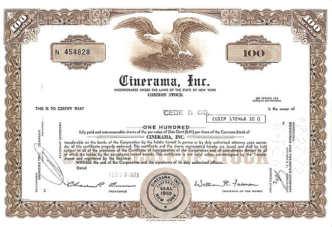 Cinerama, Inc. historic stocks - old certificates