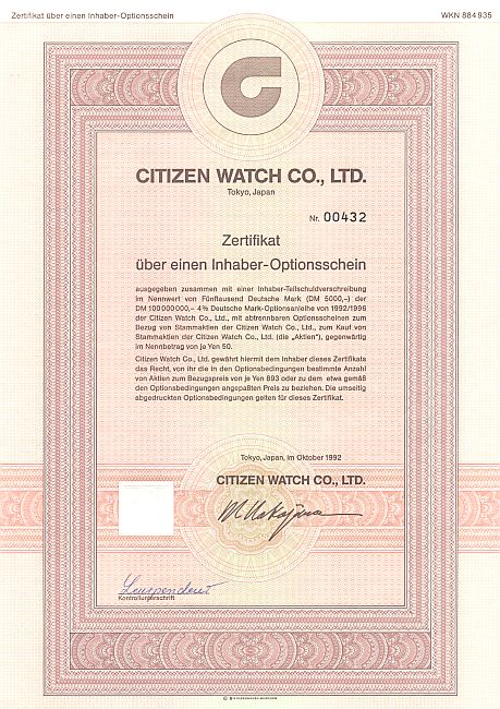 Citizen Watch historic stocks - old certificates