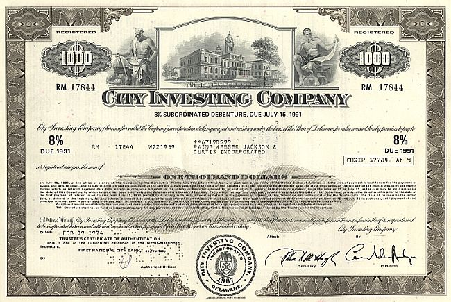 City Investing Company historic stocks - old certificates
