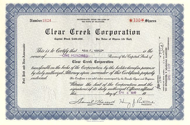 Clear Creek Corporation historic stocks - old certificates