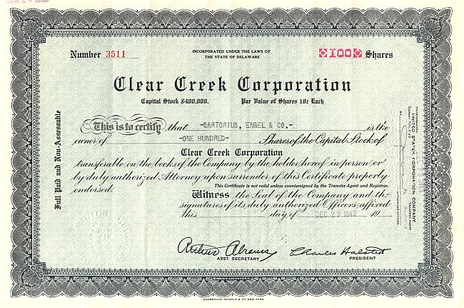 Clear Creek Corporation historische Wertpapiere - alte Aktien