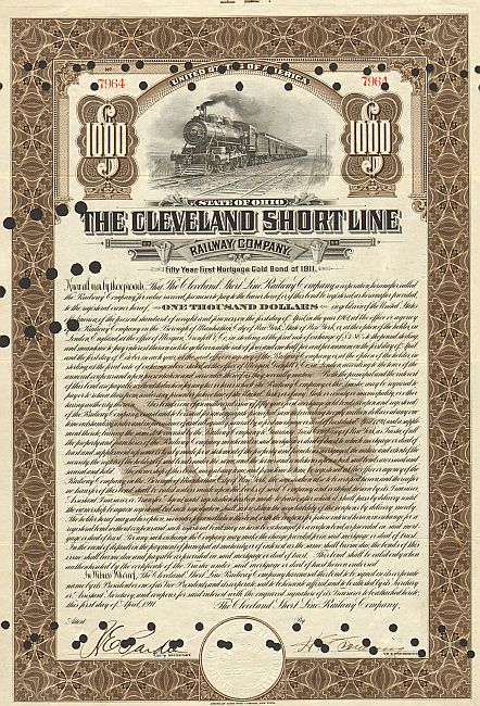 Cleveland Short Line Railway Company historic stocks - old certificates