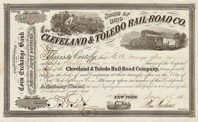 Cleveland & Toledo Rail-Road Co.  historic stocks - old certificates