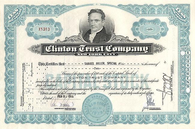 Clinton Trust Company historic stocks - old certificates